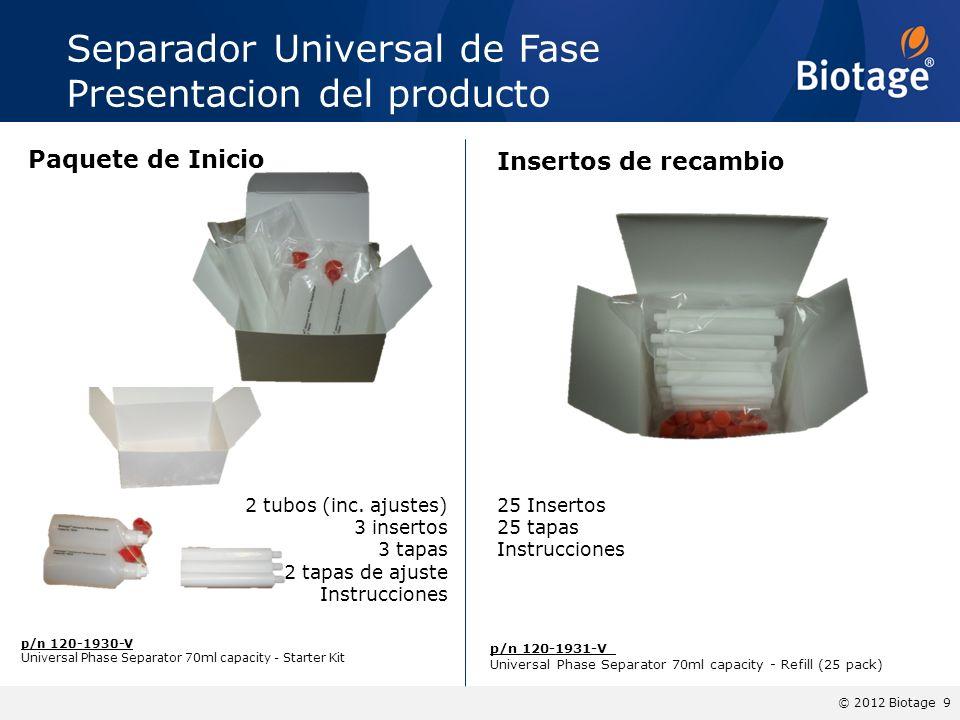 © 2012 Biotage 9 Separador Universal de Fase Presentacion del producto p/n 120-1930-V Universal Phase Separator 70ml capacity - Starter Kit p/n 120-19
