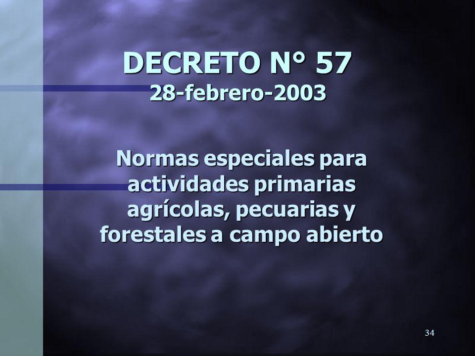 33 LIMITES DE TOLERANCIA BIOLOGICA * Es un valor de referencia que indica la concentración límite máxima tolerable, sobre la cual la probabilidad de o