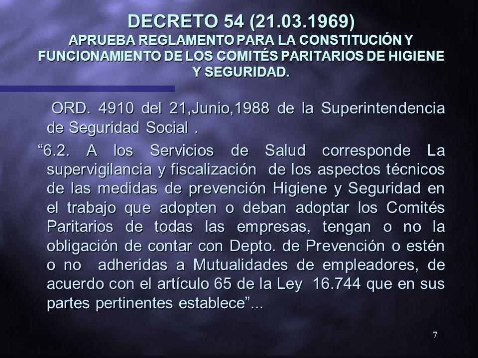 6 DECRETO 40 ( 11.02.1969 ) APRUEBA REGLAMENTO SOBRE PREVENCIÓN DE RIESGOS PROFESIONALES Artículo Nº 2 Establece la competencia de los Servicios de Sa
