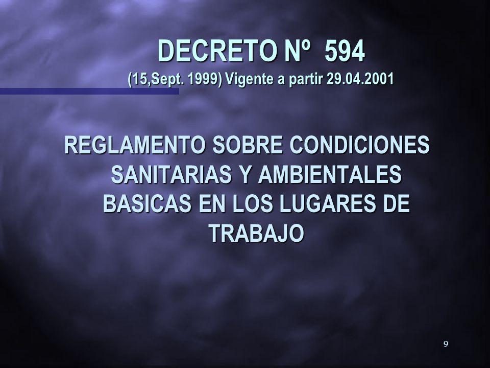 8 DECRETO 594/99 REGLAMENTO SOBRE CONDICIONES SANITARIAS Y AMBIENTALES BÁSiCAS EN LOS LUGARES DE TRABAJO REGLAMENTO SOBRE CONDICIONES SANITARIAS Y AMB
