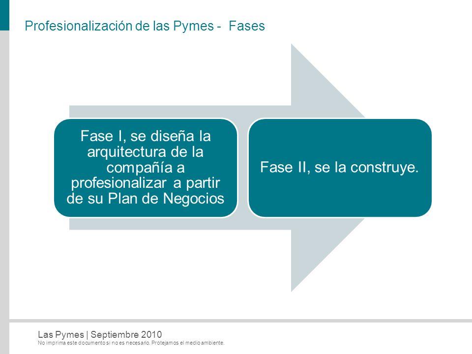No imprima este documento si no es necesario. Protejamos el medio ambiente. Las Pymes   Septiembre 2010 Profesionalización de las Pymes - Fases Fase I