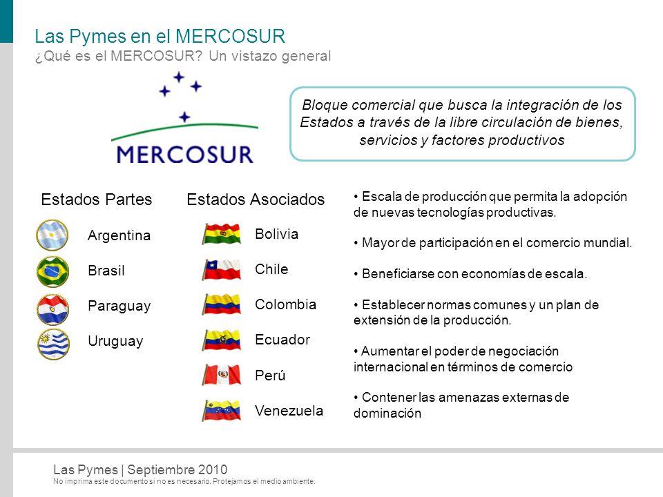 No imprima este documento si no es necesario. Protejamos el medio ambiente. Las Pymes   Septiembre 2010 Las Pymes en el MERCOSUR ¿Qué es el MERCOSUR?