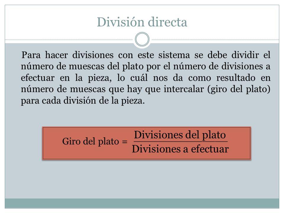 División directa Para hacer divisiones con este sistema se debe dividir el número de muescas del plato por el número de divisiones a efectuar en la pi