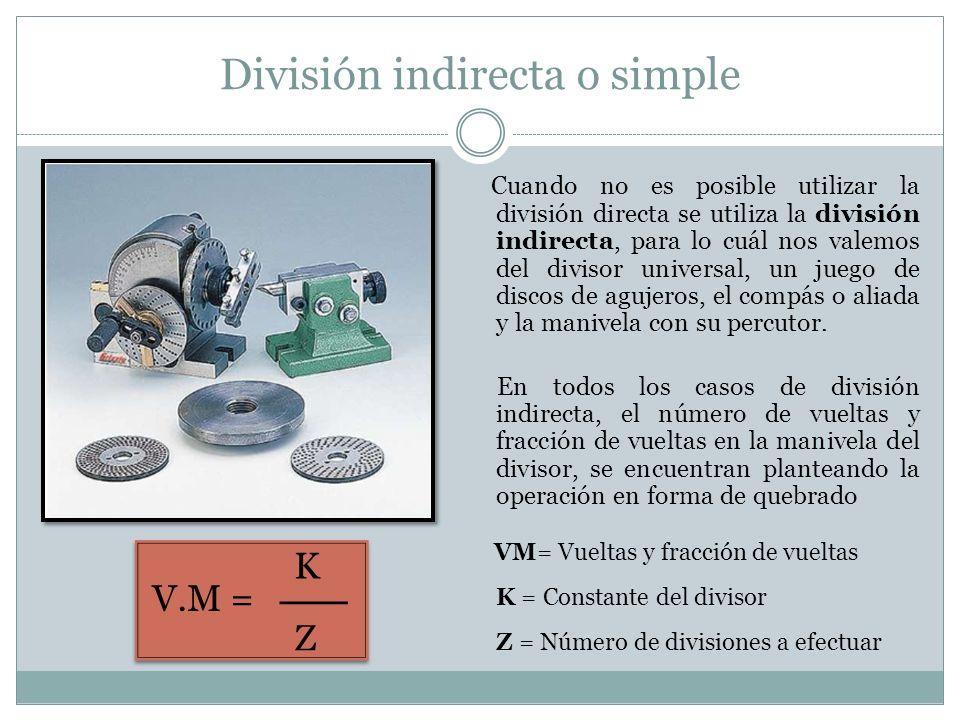 División indirecta o simple Cuando no es posible utilizar la división directa se utiliza la división indirecta, para lo cuál nos valemos del divisor u