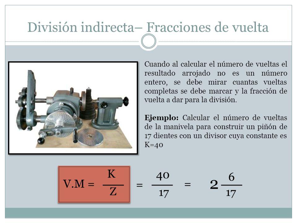 División indirecta– Fracciones de vuelta Cuando al calcular el número de vueltas el resultado arrojado no es un número entero, se debe mirar cuantas v