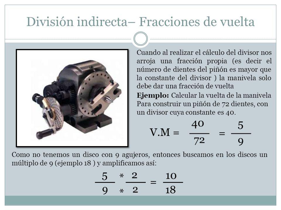 División indirecta– Fracciones de vuelta Cuando al realizar el cálculo del divisor nos arroja una fracción propia (es decir el número de dientes del p