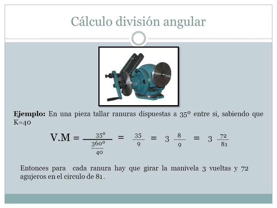 Cálculo división angular V.M = 3 = 35º ___ 360º 40 ___ Ejemplo: En una pieza tallar ranuras dispuestas a 35º entre si, sabiendo que K=40 35 9 ___ = 8
