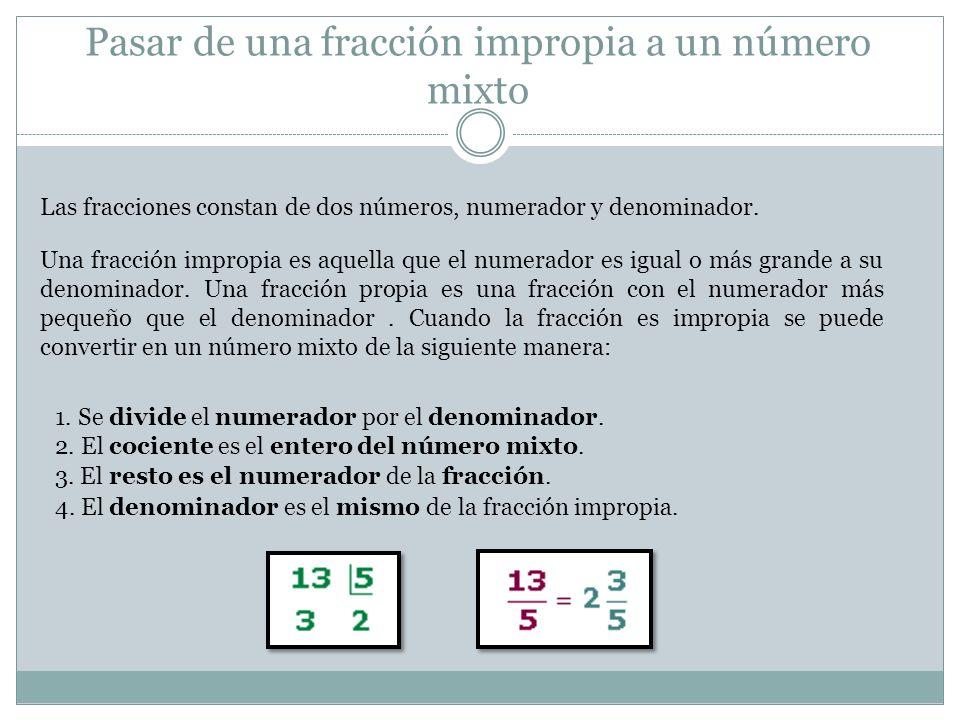 Pasar de una fracción impropia a un número mixto Las fracciones constan de dos números, numerador y denominador. Una fracción impropia es aquella que