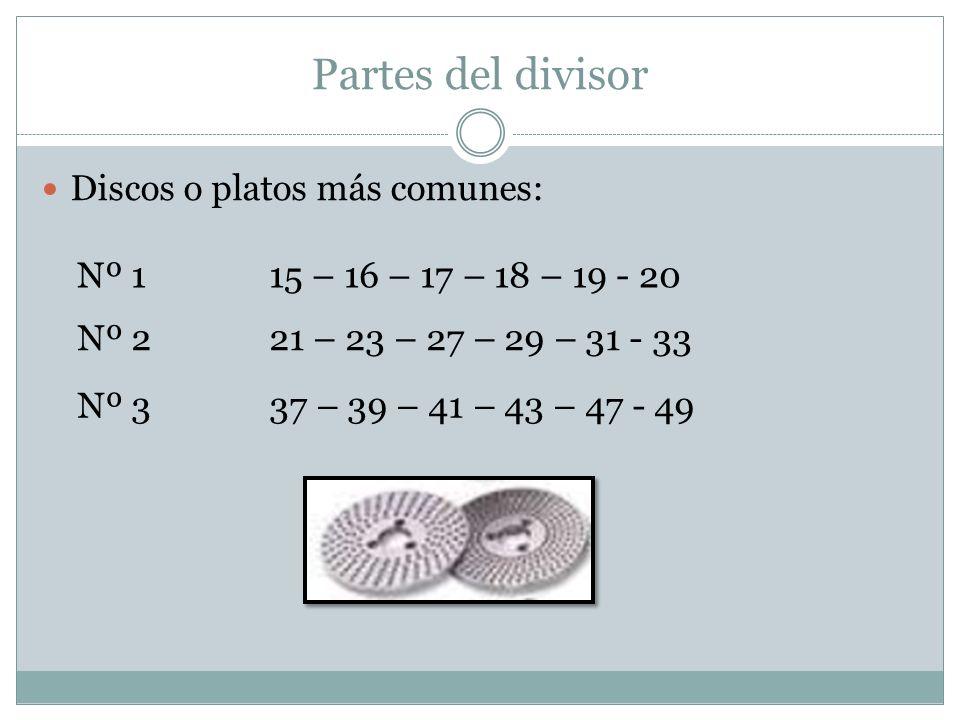 Partes del divisor Discos o platos más comunes: Nº 115 – 16 – 17 – 18 – 19 - 20 Nº 221 – 23 – 27 – 29 – 31 - 33 Nº 337 – 39 – 41 – 43 – 47 - 49