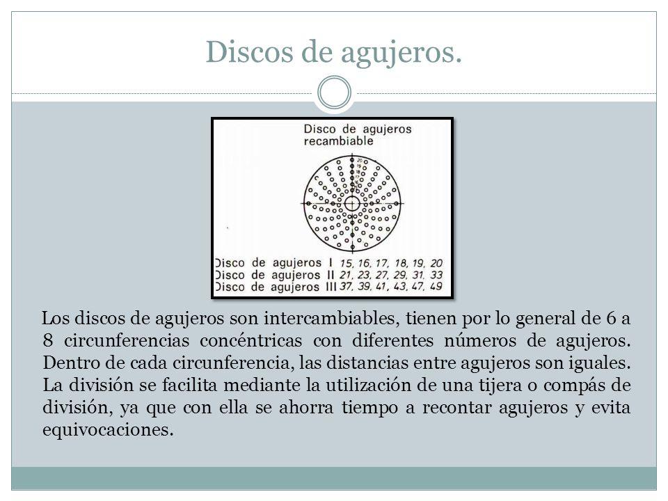 Discos de agujeros. Los discos de agujeros son intercambiables, tienen por lo general de 6 a 8 circunferencias concéntricas con diferentes números de