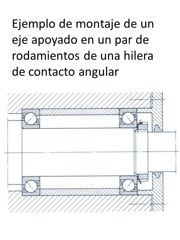 Ejemplo de montaje de un eje apoyado en un par de rodamientos de una hilera de contacto angular