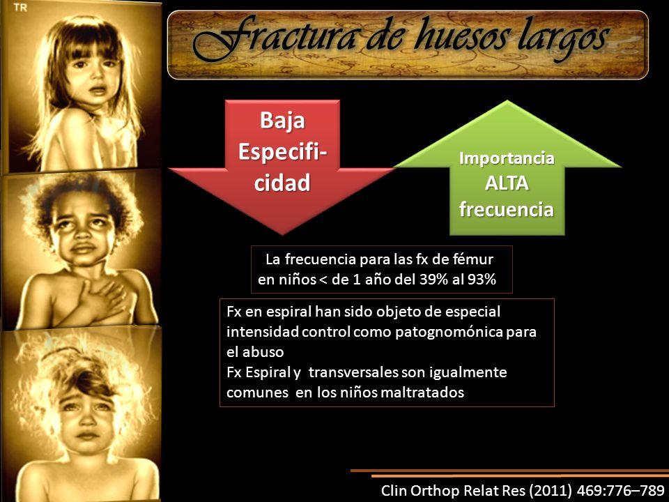 Baja Especifi- cidad Baja Importancia ALTA frecuencia. La frecuencia para las fx de fémur en niños < de 1 año del 39% al 93% Fx en espiral han sido ob