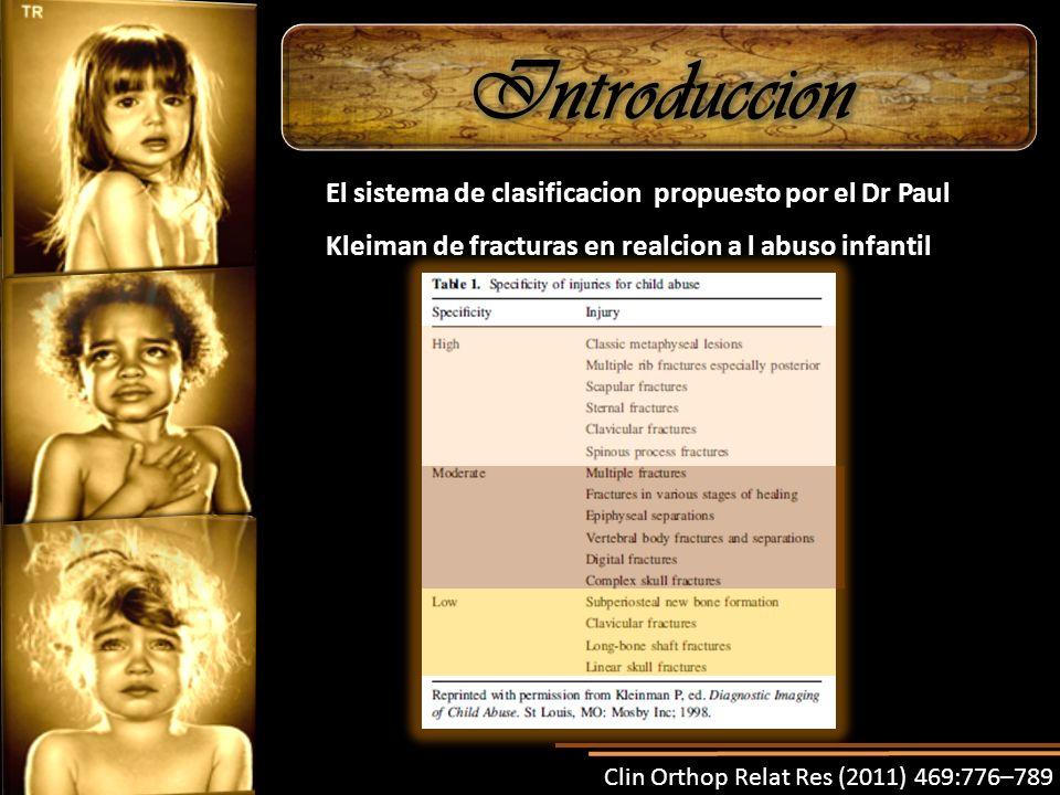 El sistema de clasificacion propuesto por el Dr Paul Kleiman de fracturas en realcion a l abuso infantil Clin Orthop Relat Res (2011) 469:776–789