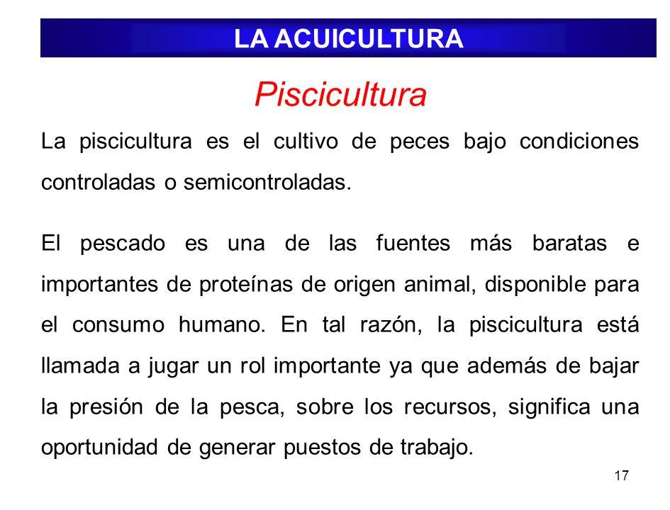 17 Piscicultura La piscicultura es el cultivo de peces bajo condiciones controladas o semicontroladas. El pescado es una de las fuentes más baratas e