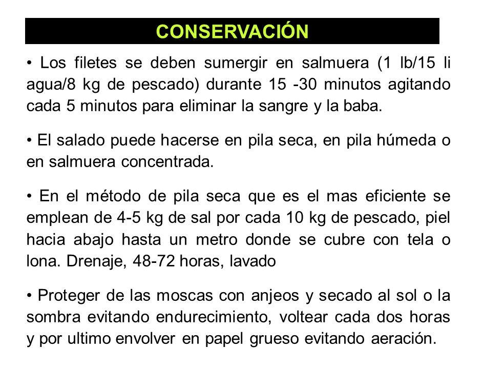 46 CONSERVACIÓN Los filetes se deben sumergir en salmuera (1 lb/15 li agua/8 kg de pescado) durante 15 -30 minutos agitando cada 5 minutos para elimin