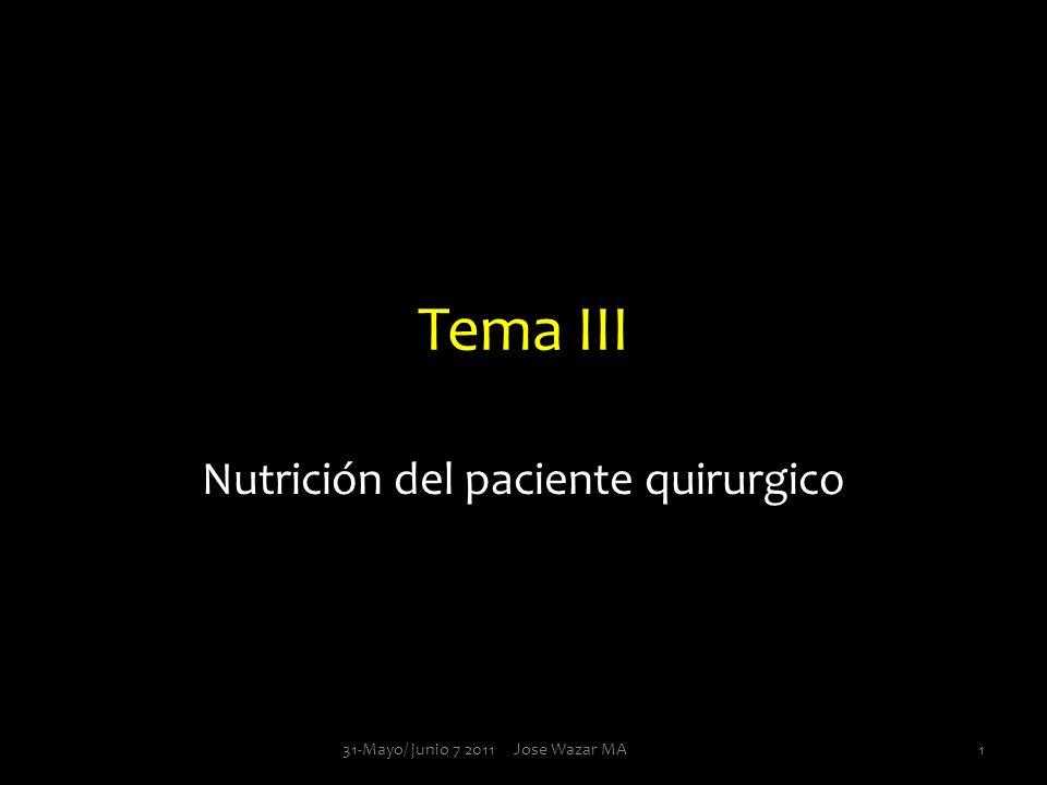 Tema III Nutrición del paciente quirurgico 131-Mayo/ junio 7 2011 Jose Wazar MA