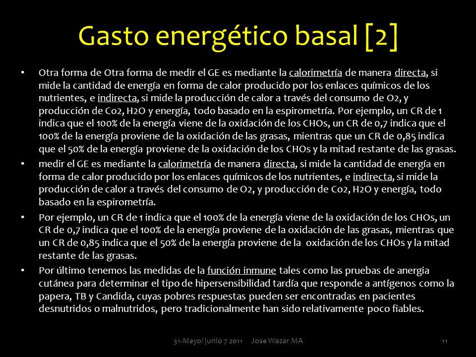 Gasto energético basal [2] Otra forma de Otra forma de medir el GE es mediante la calorimetría de manera directa, si mide la cantidad de energía en fo