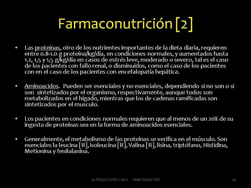 Farmaconutrición [2] Las proteinas, otro de los nutrientes importantes de la dieta diaria, requieren entre 0.8-1.0 g proteína/kg/día, en condiciones n