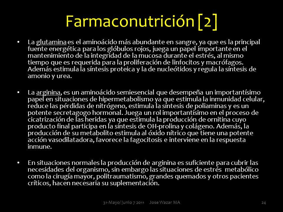 Farmaconutrición [2] La glutamina es el aminoácido más abundante en sangre, ya que es la principal fuente energética para los glóbulos rojos, juega un