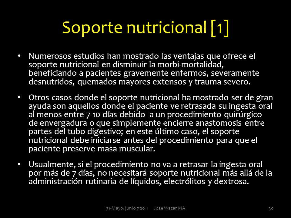 Soporte nutricional [1] Numerosos estudios han mostrado las ventajas que ofrece el soporte nutricional en disminuir la morbi-mortalidad, beneficiando