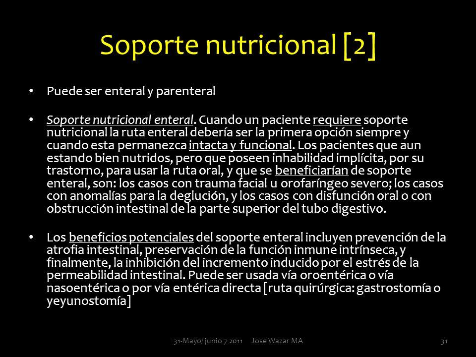 Soporte nutricional [2] Puede ser enteral y parenteral Soporte nutricional enteral. Cuando un paciente requiere soporte nutricional la ruta enteral de