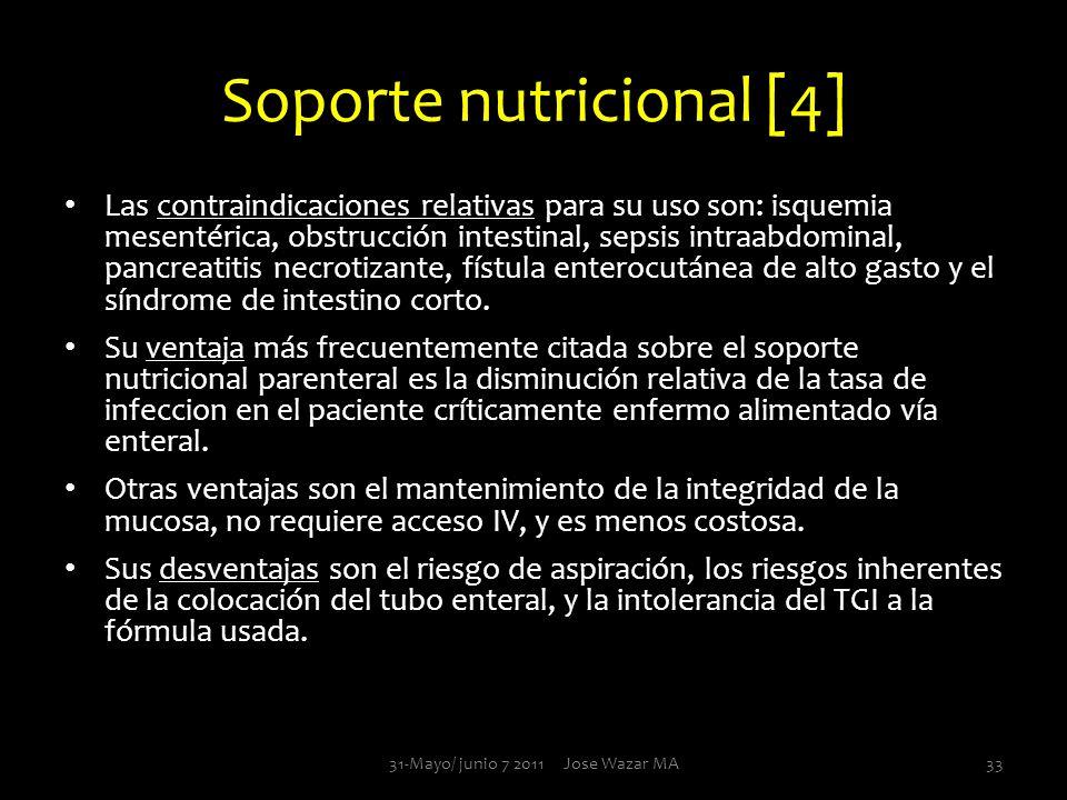 Soporte nutricional [4] Las contraindicaciones relativas para su uso son: isquemia mesentérica, obstrucción intestinal, sepsis intraabdominal, pancrea