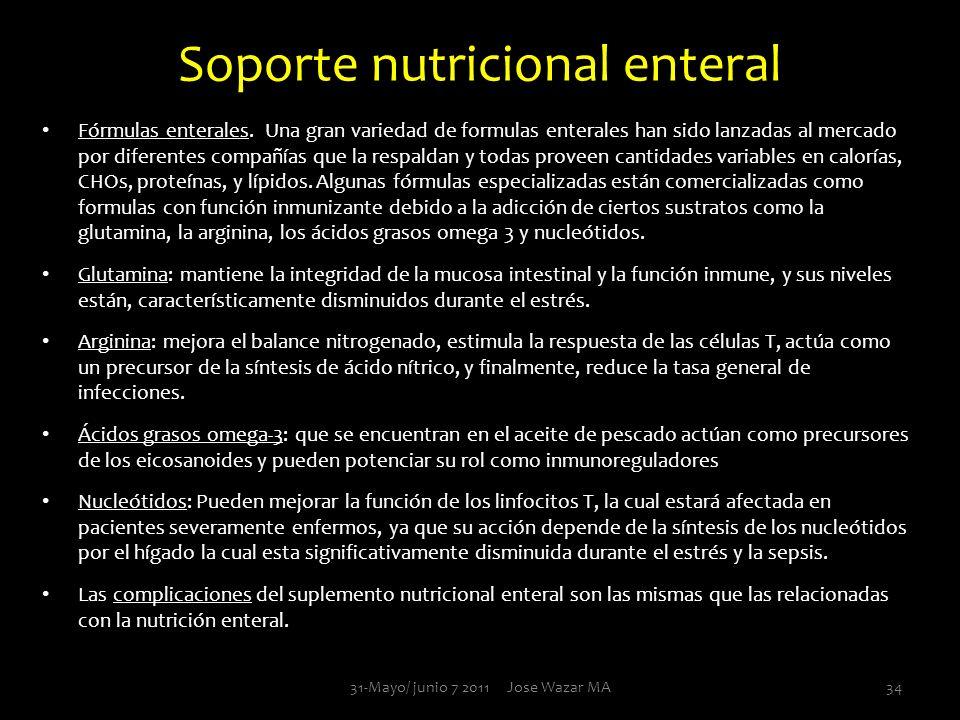Soporte nutricional enteral Fórmulas enterales. Una gran variedad de formulas enterales han sido lanzadas al mercado por diferentes compañías que la r