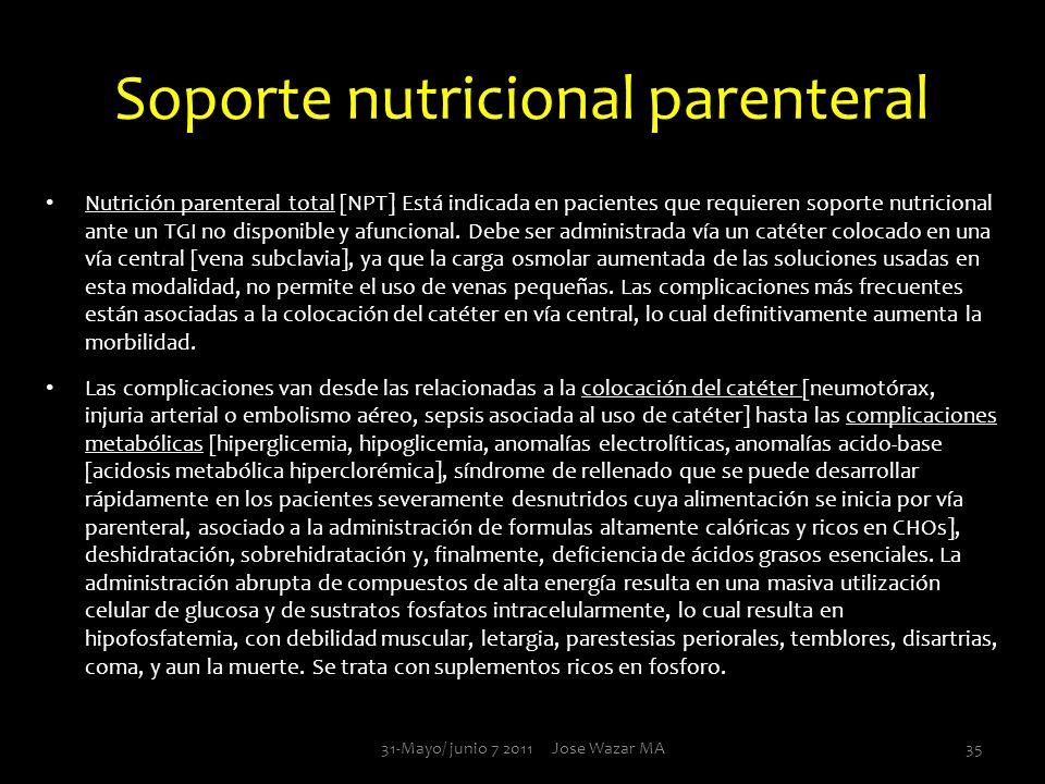 Soporte nutricional parenteral Nutrición parenteral total [NPT] Está indicada en pacientes que requieren soporte nutricional ante un TGI no disponible