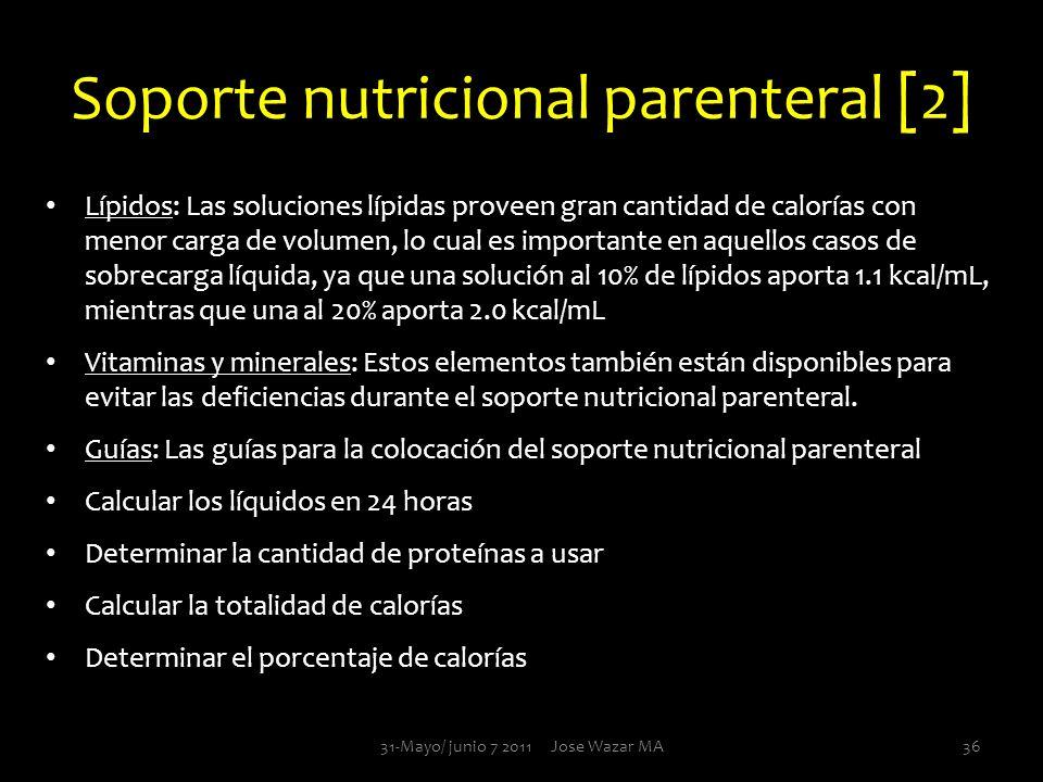 Soporte nutricional parenteral [2] Lípidos: Las soluciones lípidas proveen gran cantidad de calorías con menor carga de volumen, lo cual es importante