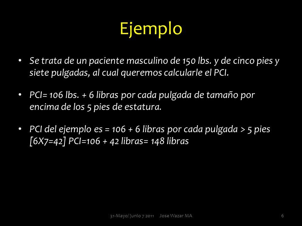 Ejemplo Se trata de un paciente masculino de 150 lbs. y de cinco pies y siete pulgadas, al cual queremos calcularle el PCI. PCI= 106 lbs. + 6 libras p