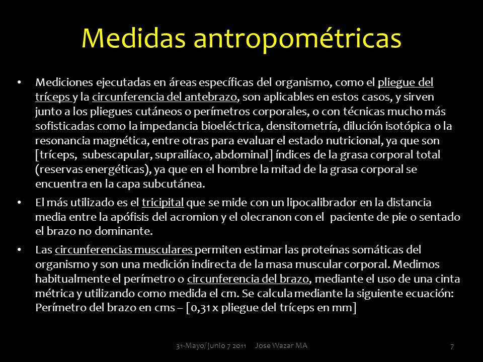 Medidas antropométricas Mediciones ejecutadas en áreas específicas del organismo, como el pliegue del tríceps y la circunferencia del antebrazo, son a
