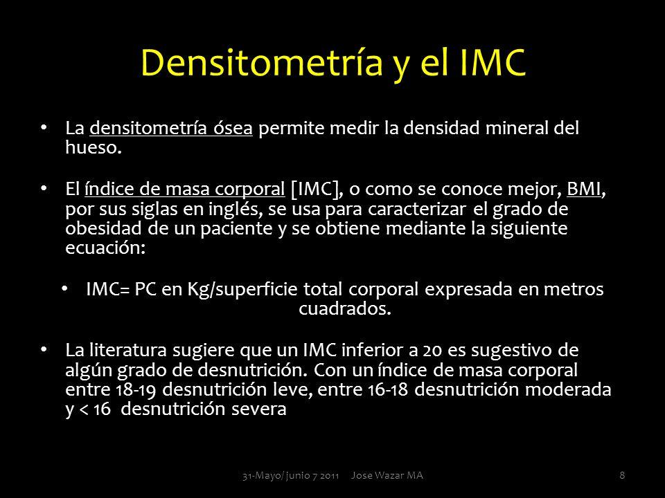 Densitometría y el IMC La densitometría ósea permite medir la densidad mineral del hueso. El índice de masa corporal [IMC], o como se conoce mejor, BM