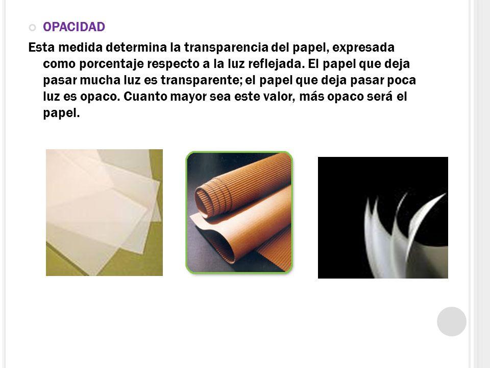 OPACIDAD Esta medida determina la transparencia del papel, expresada como porcentaje respecto a la luz reflejada. El papel que deja pasar mucha luz es
