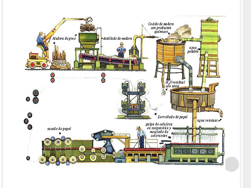 FABRICACION DEL PAPEL Una vez tenemos la materias primas necesarias convenientemente mezcladas y con un contenido de agua del 99%, procederemos a la formación de la hoja en una tela plástica agujereada que permitirá la eliminación de una cierta cantidad de agua, concretamente hasta un 80%.