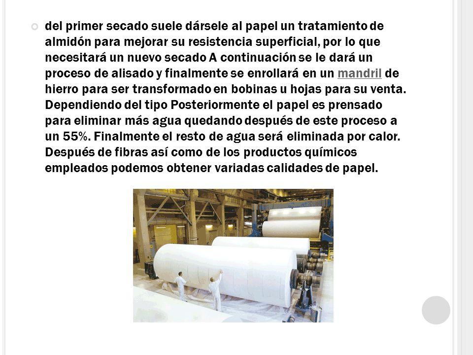 del primer secado suele dársele al papel un tratamiento de almidón para mejorar su resistencia superficial, por lo que necesitará un nuevo secado A co