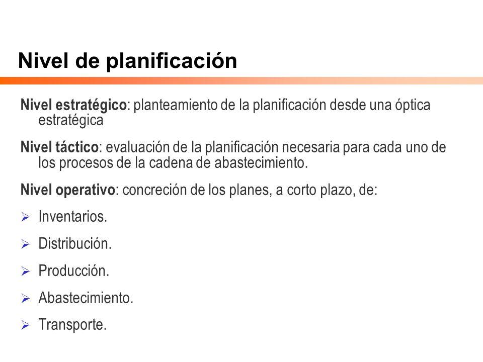 Nivel de planificación Nivel estratégico : planteamiento de la planificación desde una óptica estratégica Nivel táctico : evaluación de la planificaci