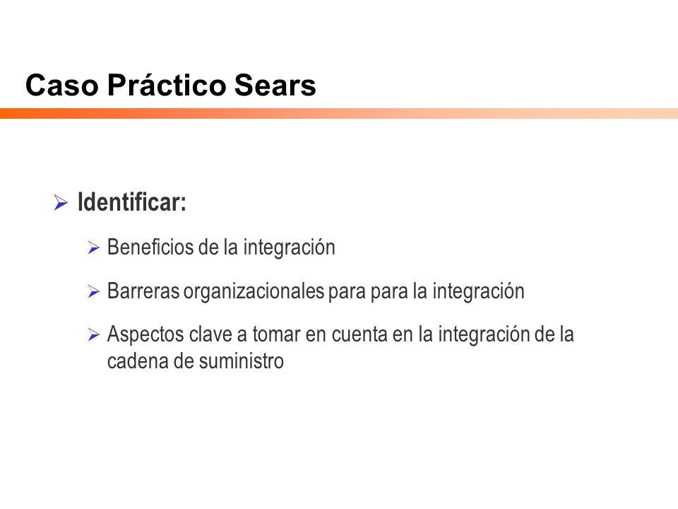 Caso Práctico Sears Identificar: Beneficios de la integración Barreras organizacionales para para la integración Aspectos clave a tomar en cuenta en l
