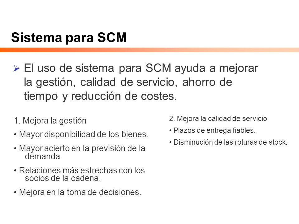 Sistema para SCM El uso de sistema para SCM ayuda a mejorar la gestión, calidad de servicio, ahorro de tiempo y reducción de costes. 1. Mejora la gest