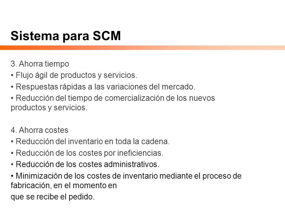 Sistema para SCM 3. Ahorra tiempo Flujo ágil de productos y servicios. Respuestas rápidas a las variaciones del mercado. Reducción del tiempo de comer