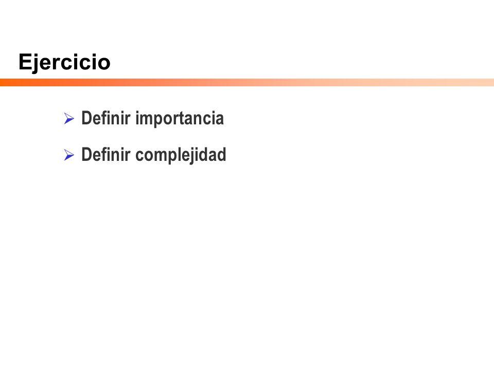 Ejercicio Definir importancia Definir complejidad