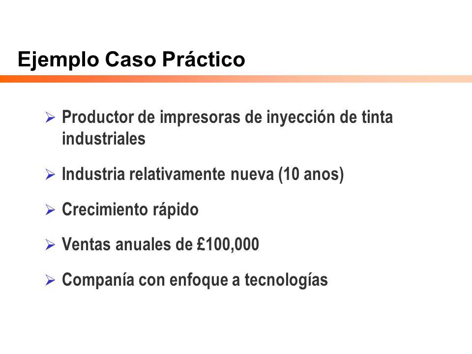 Ejemplo Caso Práctico Productor de impresoras de inyección de tinta industriales Industria relativamente nueva (10 anos) Crecimiento rápido Ventas anu