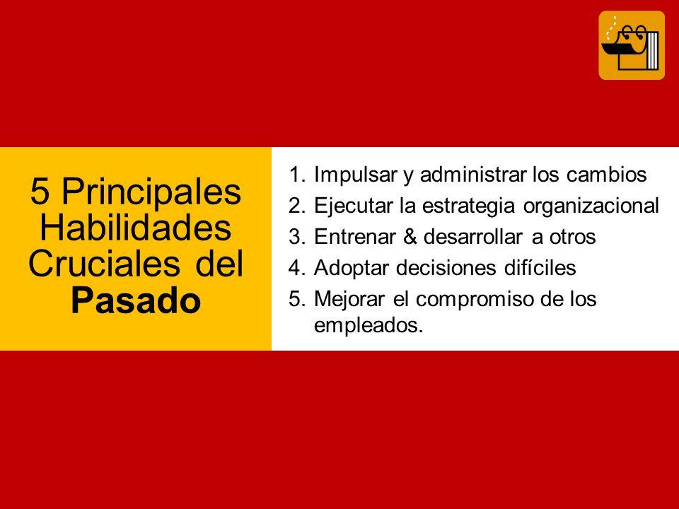 5 Principales Habilidades Cruciales del Pasado 1.Impulsar y administrar los cambios 2.Ejecutar la estrategia organizacional 3.Entrenar & desarrollar a otros 4.Adoptar decisiones difíciles 5.Mejorar el compromiso de los empleados.