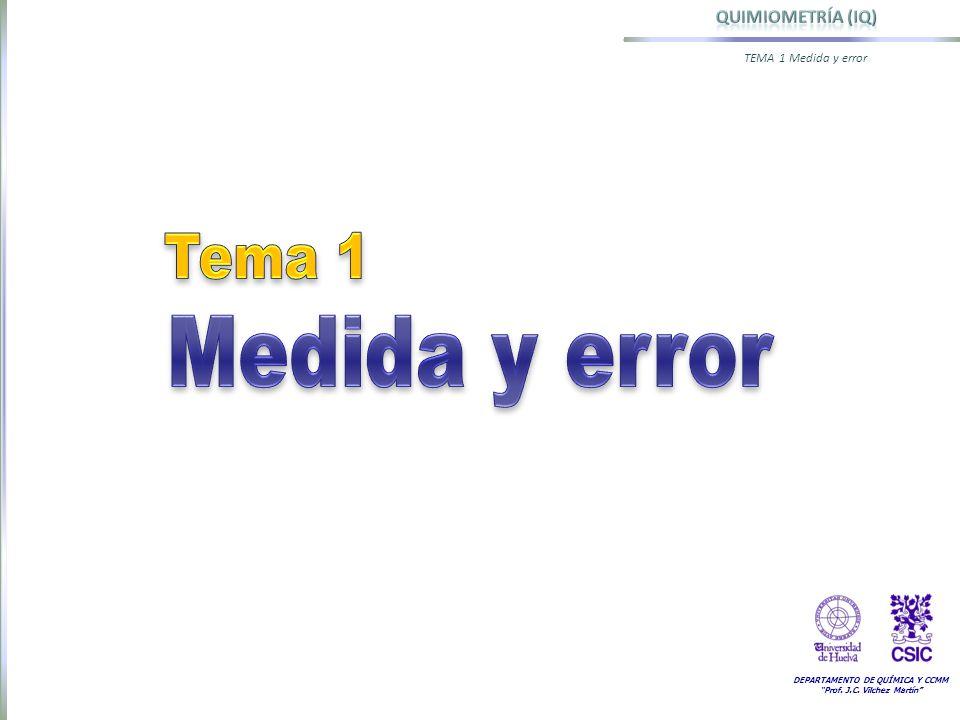 DEPARTAMENTO DE QUÍMICA Y CCMM Prof. J.C. Vilchez Martín TEMA 1 Medida y error