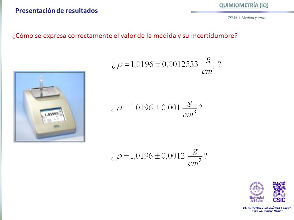 DEPARTAMENTO DE QUÍMICA Y CCMM Prof. J.C. Vilchez Martín TEMA 1 Medida y error ¿Cómo se expresa correctamente el valor de la medida y su incertidumbre