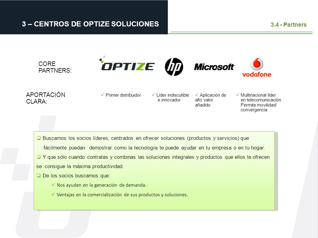 3 – CENTROS DE OPTIZE SOLUCIONES 3.4 - Partners CORE PARTNERS: Buscamos los socios líderes, centrados en ofrecer soluciones (productos y servicios) qu