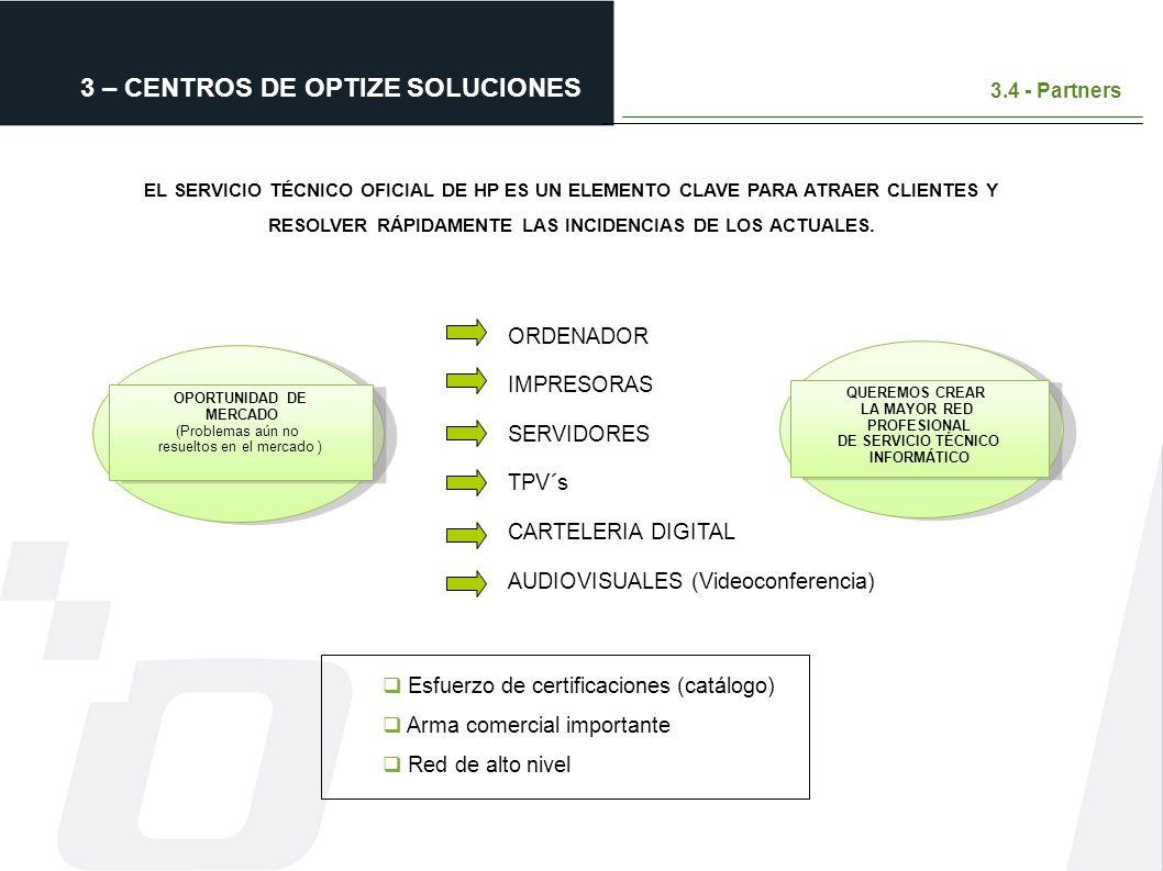 3 – CENTROS DE OPTIZE SOLUCIONES 3.4 - Partners ORDENADOR IMPRESORAS SERVIDORES TPV´s CARTELERIA DIGITAL AUDIOVISUALES (Videoconferencia) Esfuerzo de