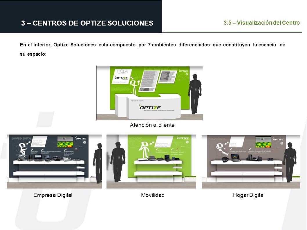 3 – CENTROS DE OPTIZE SOLUCIONES 3.5 – Visualización del Centro En el interior, Optize Soluciones esta compuesto por 7 ambientes diferenciados que con