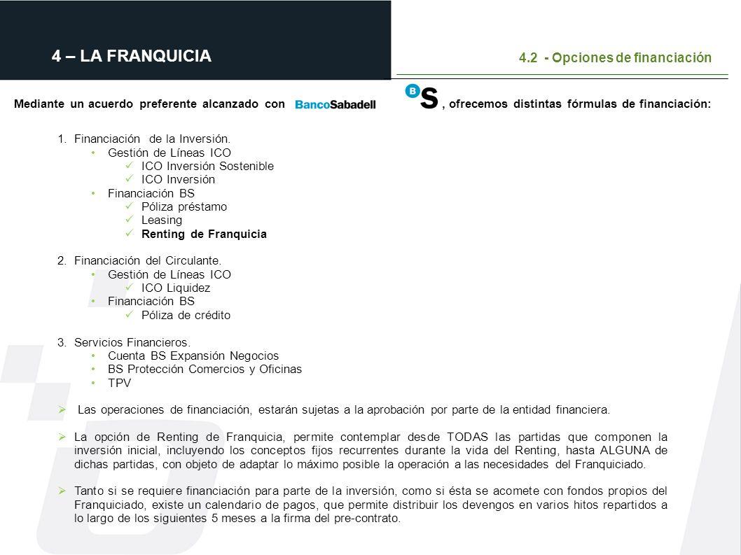 4 – LA FRANQUICIA 4.2 - Opciones de financiación Mediante un acuerdo preferente alcanzado con, ofrecemos distintas fórmulas de financiación: mismos se