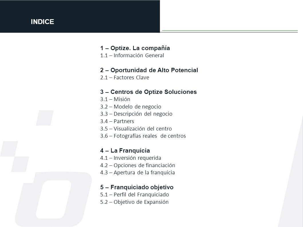 INDICE 1 – Optize. La compañía 1.1 – Información General 2 – Oportunidad de Alto Potencial 2.1 – Factores Clave 3 – Centros de Optize Soluciones 3.1 –