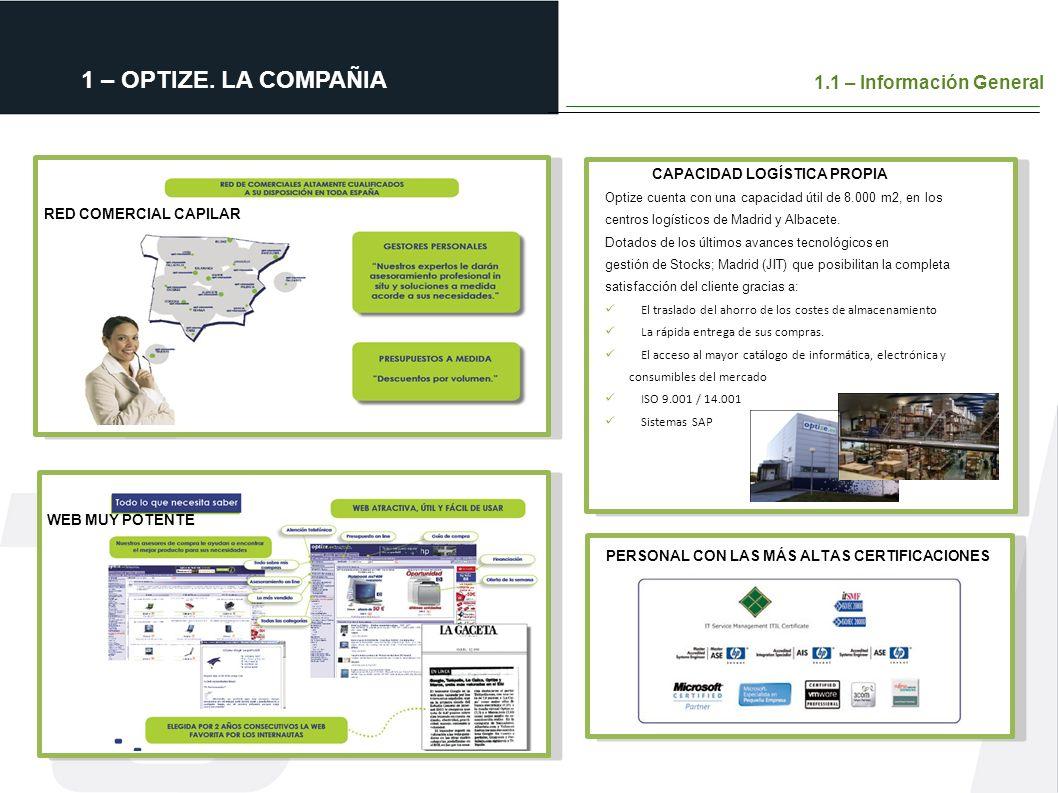 RED COMERCIAL CAPILAR WEB MUY POTENTE Optize cuenta con una capacidad útil de 8.000 m2, en los centros logísticos de Madrid y Albacete. Dotados de los